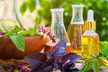 Oil for skin care, massage from natural ingredients, herbs, mint