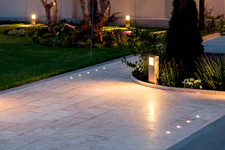 marble tile playground in the backyard of flowerbeds and lawn wi